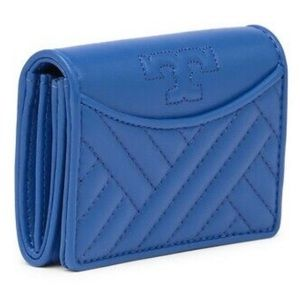 TORY BURCH Alexa Regal Blue Logo Card Case Wallet